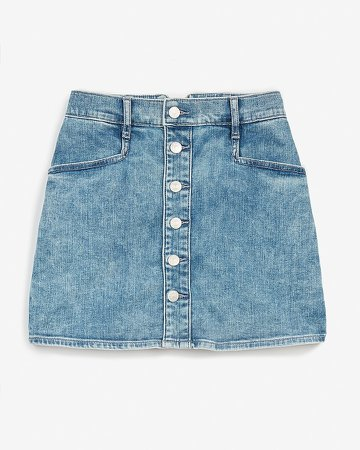 Super High Waisted Button Front Denim Skort