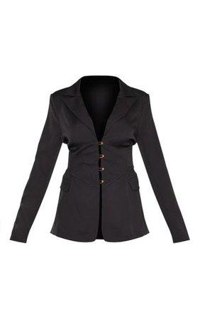 Black Corset Woven Blazer | PrettyLittleThing