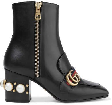 Marmont Logo And Faux Pearl-embellished Leather Ankle Boots - Black