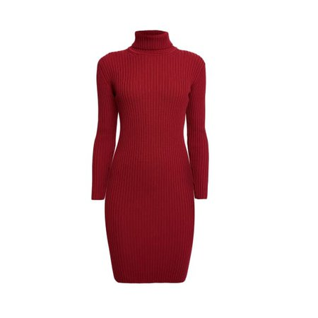 Claudia Red Ribbed Turtleneck Dress (L) | Rumour London | Wolf & Badger