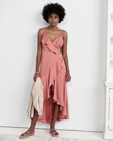 Satin Ruffle Wrap Midi Dress