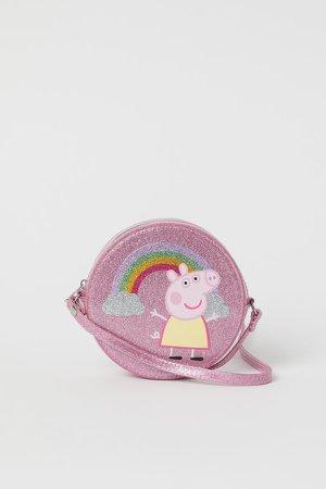Shoulder Bag with Design - Pink