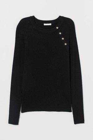 Rib-knit Sweater - Black - Ladies   H&M US