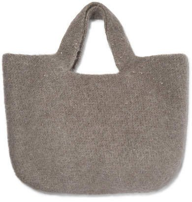 Oval Cotton, Alpaca And Wool-blend Tote - Gray