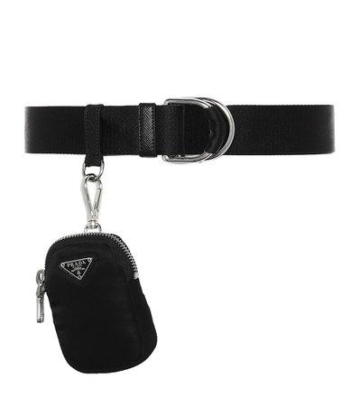 Prada - Leather belt with pouch | Mytheresa