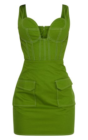 *clipped by @luci-her* Green Utility Contrast Stitch Bodycon Dress   PrettyLittleThing USA