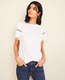 Circle Lace Trim Top | Ann Taylor