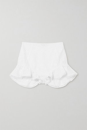 Saza Crocheted Lace-trimmed Broderie Anglaise Cotton-blend Shorts - White