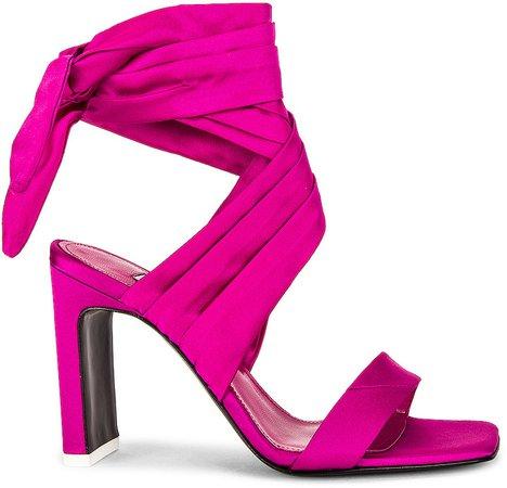 Satin Lace Up Sandal in Fuchsia | FWRD