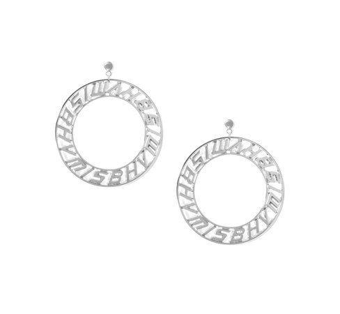 Logo Circle Earings Silver