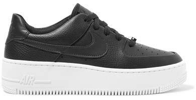 Air Force 1 Sage Textured-leather Sneakers - Black