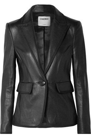 L'Agence | Paulie grosgrain-trimmed leather blazer | NET-A-PORTER.COM