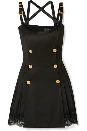 Versace | Button-embellished satin and lace-trimmed wool-blend twill mini dress | NET-A-PORTER.COM