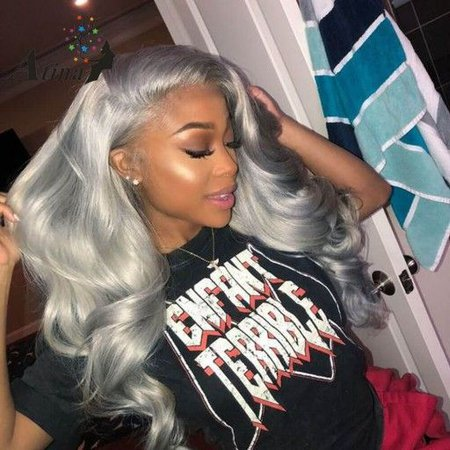 Pinterest - Lace Front Human Hair Wig Body Wave Ombre Grey Silver | L.O.O.K.S.