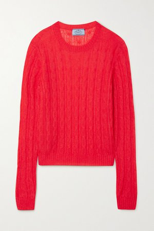 Red Cable-knit sweater | Prada | NET-A-PORTER