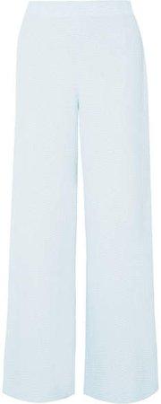 Glover Embroidered Cloqué Wide-leg Pants - Blue