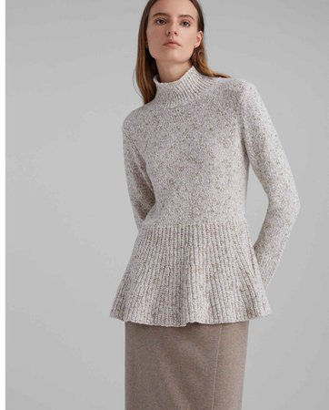 Mockneck Peplum Sweater