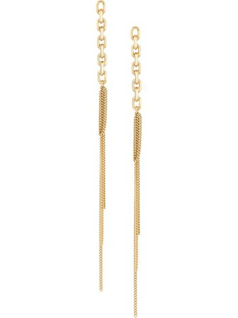 Wouters & Hendrix Long Stud Chain Earrings ODRS15S Gold | Farfetch