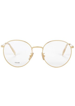 Celine Gold-tone round-frame optical glasses - Harvey Nichols