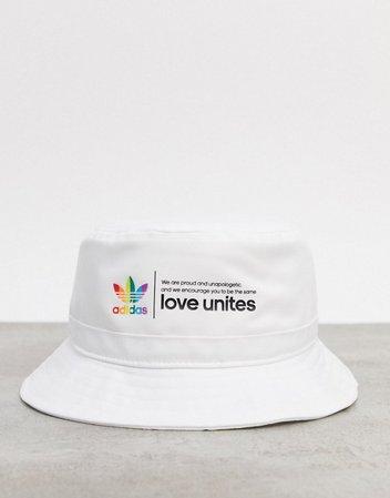 adidas Originals Pride trefoil bucket hat in white | ASOS