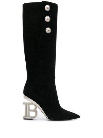 Black Balmain Nelly Over-The-Knee Boots | Farfetch.com