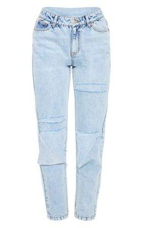 Light Wash Slit Knee Straight Leg Jeans   PrettyLittleThing