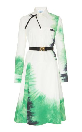 Belted Tie-Dye Poplin Dress by Prada | Moda Operandi