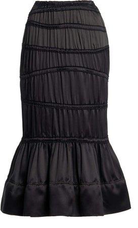 Tom Ford Ruched Silk Midi Skirt