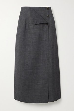 Wrap-effect Woven Midi Skirt - Gray