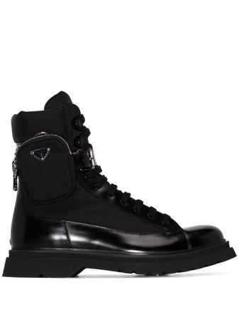 Prada pouch-detail combat boots black 2TE1693KZP - Farfetch