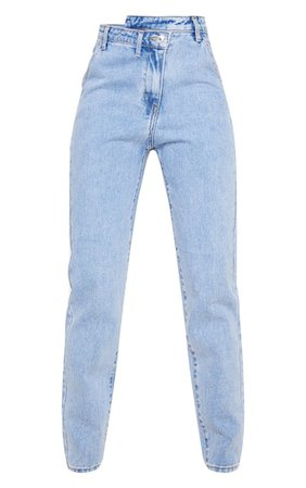 Light Blue Wash Asymmetric Waistband Jeans | PrettyLittleThing USA