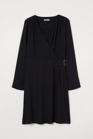 Belted Wrap Dress - Black