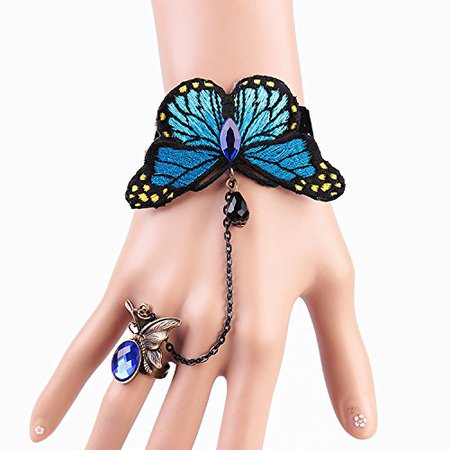 Amazon.com: MEiySH Lolita Blue Butterfly Charm Lace Slave Bracelets with Ring fow Women: Jewelry