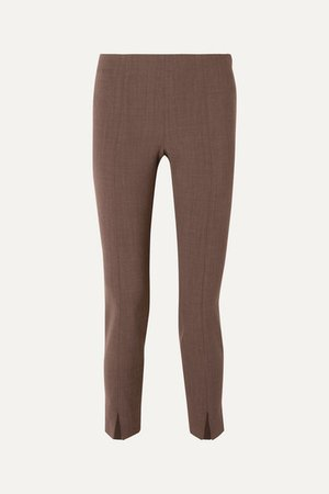 Sorocco Cropped Stretch-wool Skinny Pants - Brown