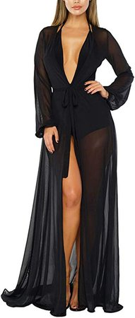 Pink Queen Women's Long Sleeve Flowy Maxi Bathing Suit Swimsuit Tie Front Robe Cover Up Black S at Amazon Women's Clothing store
