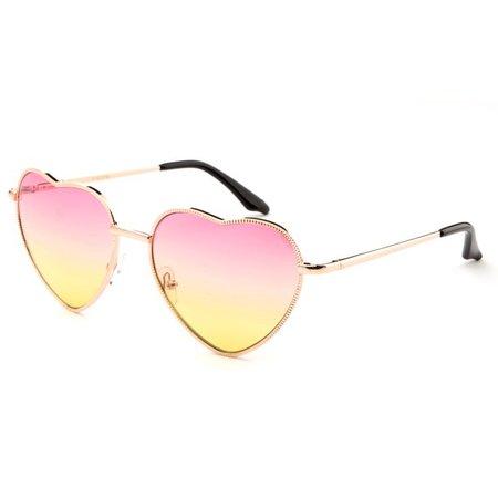 New Bee - Women Heart Sunglasses Metal Frame Spring Hinged Lovely Aviator Heart Shape Mirror Flash Lens - Walmart.com - Walmart.com