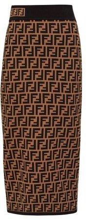Ff Jacquard High Rise Knit Pencil Skirt - Womens - Brown Multi