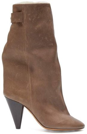Lakee Shearling Lined Leather Boots - Womens - Khaki