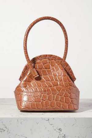 Isel Croc-effect Leather Tote - Light brown