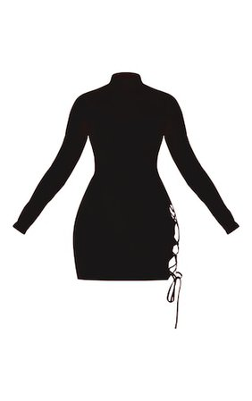 Black High Neck Cut Out Side Seam Bodycon Dress   PrettyLittleThing