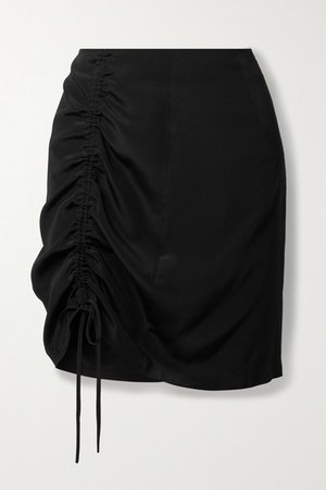 View Ruched Silk-satin Mini Skirt - Black