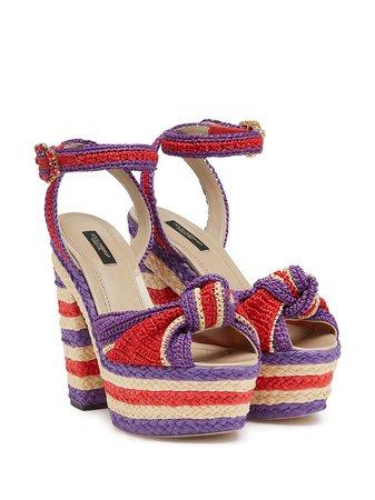 Dolce & Gabbana Bianca raffia wedge sandals