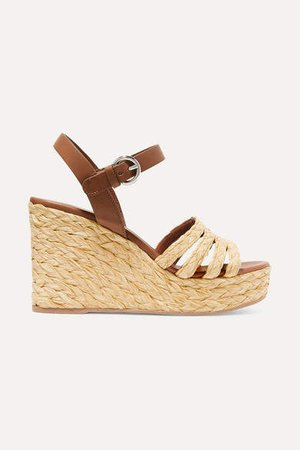 Leather And Woven Raffia Espadrille Wedge Sandals