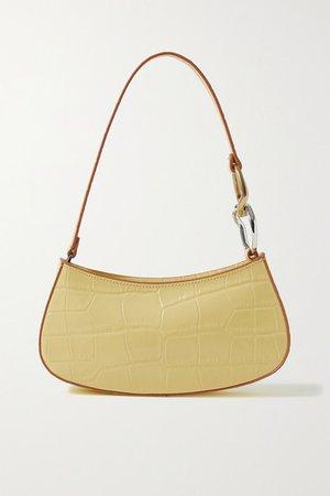 Ollie Croc-effect Leather Shoulder Bag - Pastel yellow