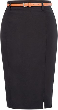 Women's Casual Midi Bodycon Career Pencil Skirt with Belt Size M Black