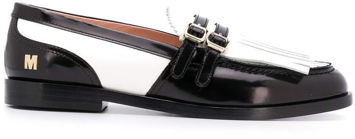 two-tone fringed loafers