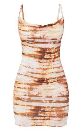 Brown Tie Dye Cowl Neck Strappy Bodycon Dress   PrettyLittleThing USA
