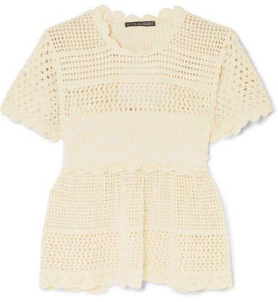 Open-back Scalloped Crochet-knit Cotton-blend Top - Ecru