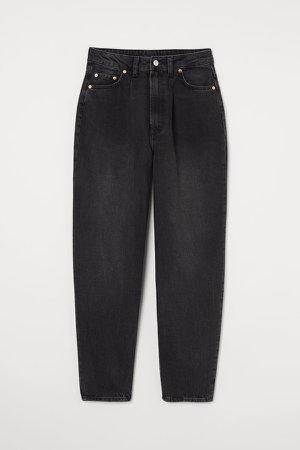 Mom High Ankle Jeans - Black