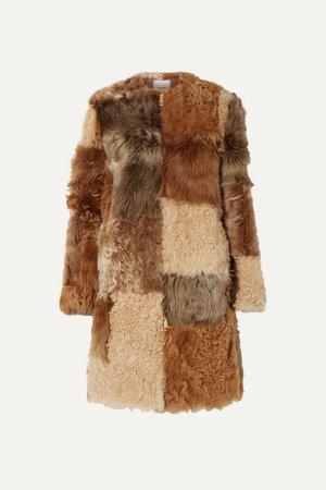 Patchwork Shearling Coat - Beige